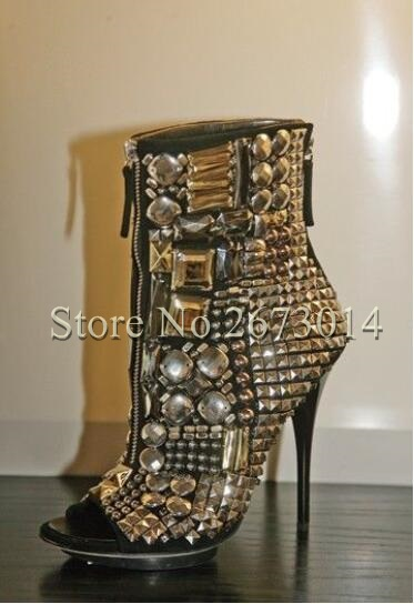 spring autumn nice rhinestone peep toe studded ankle boots