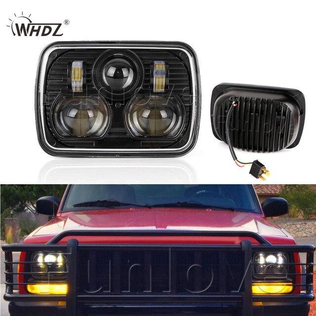 "5"" X 7"" Rectangle LED Headlight For  84-01 Jeep Cherokee XJ Trucks Headlamp Black Bezel"