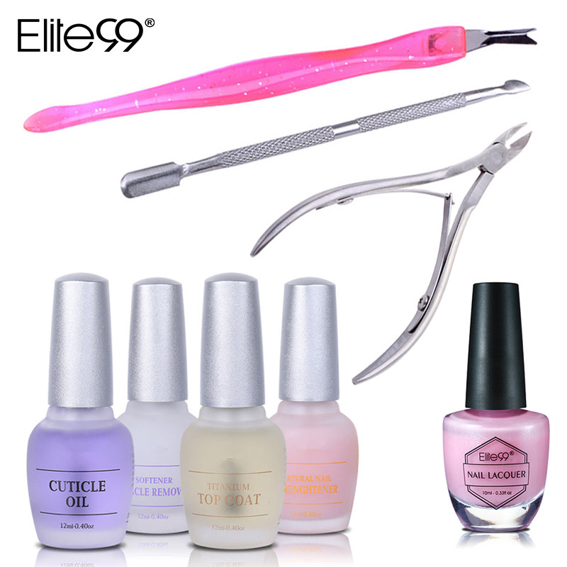 Aliexpress Elite99 Nail Art Tool Lacquer Protection Strenghtener Remover Cuticle Oil Top Coat Nipper Pusher Manicure Set From