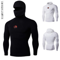 Super Elastic Men Thrasher T Shirts Ninja Clothes Kung Fu Shirt Long Sleeve T Shirt Mask