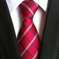 9 cm width formal tie men's traditional necktie red with white blue plaids