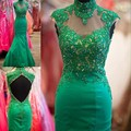 Elegant 2016 emerald green prom dress long mermaid high neck lace applique beads abendkleider 2017vestidos de formatura