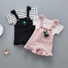 Fashion Girls Clothing Sets Children Summer Girls Clothes Kids Cotton Striped Tops+Braces 2PCS Children Clothes Sets Kids Suit недорого