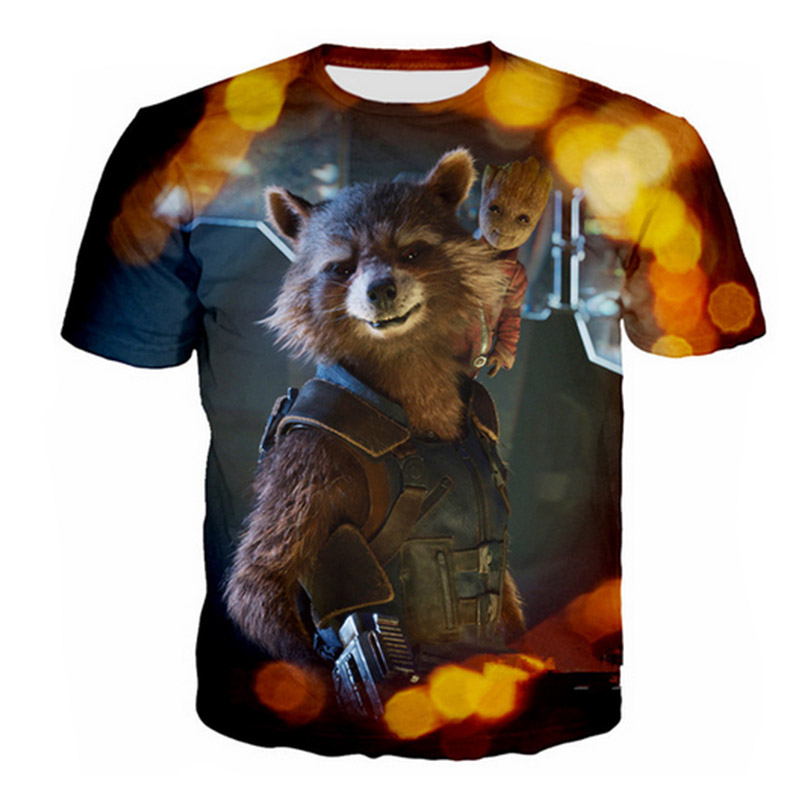 New Summer Mens T-Shirt Galaxy Movie Guardian Print 3D Womens T-Shirt Hip-Hop Mens Wear Cute T-Shirt Clothes