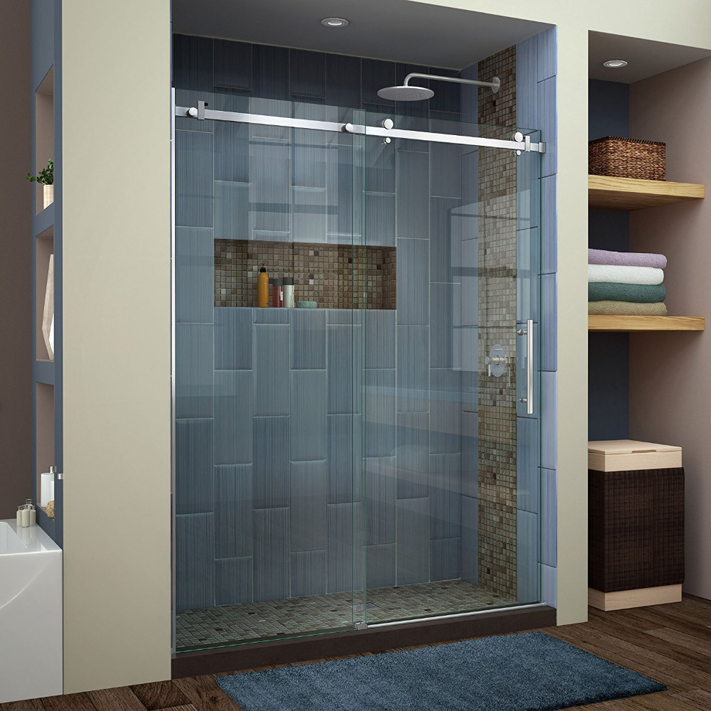 usa hot selling 66ft bypass flat bar brushed stainless steel decor sliding shower