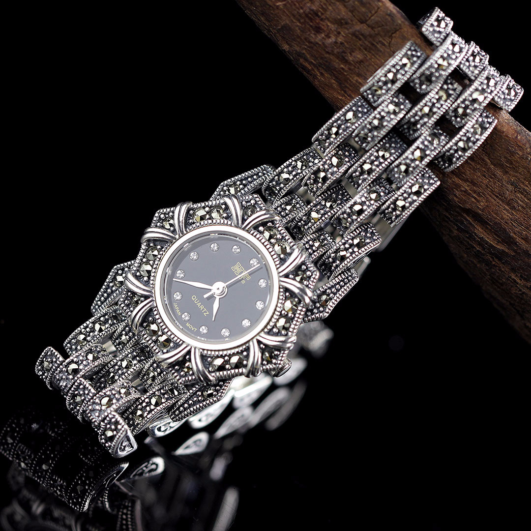 Ethnic 925 Sterling Silver Inlay Marcasite Chain Quartz WatchEthnic 925 Sterling Silver Inlay Marcasite Chain Quartz Watch