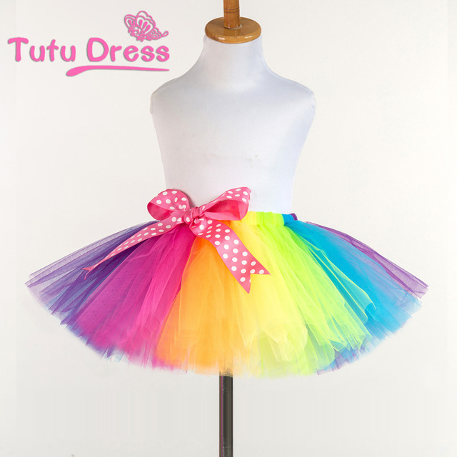 2017 New Fluffy Handmade Rainbow Tutu Skirt Colorful Cheap