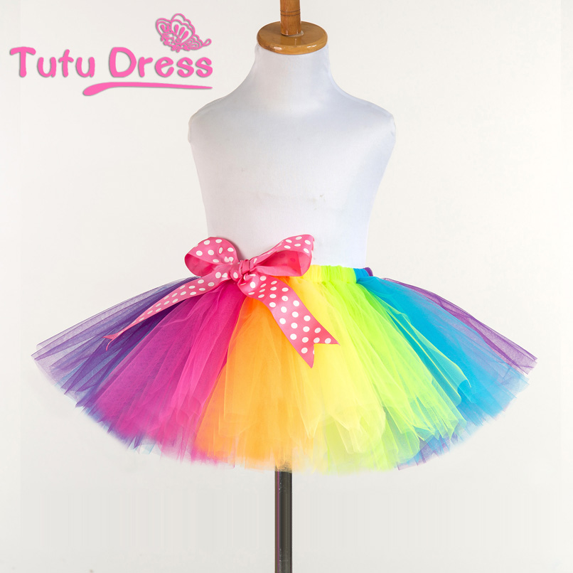 New Fluffy Handmade rainbow tutu skirt colorful cheap girl skirt dance skirt Baby Girl Clothes kids Clothes Birthday Gift ywhuansen 2018 new rainbow cotton skirt sequin embroidery baby girl skirt cute rabbit princess kid clothes tutu skirt tulle pink