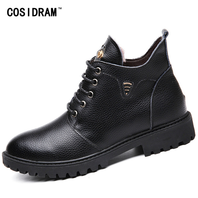 Split Leather Men Boots Winter Shoes Warm Plush Motorcycle Martin Ankle Boots Fashion Casual Rubber Male Black Botas BRM-862