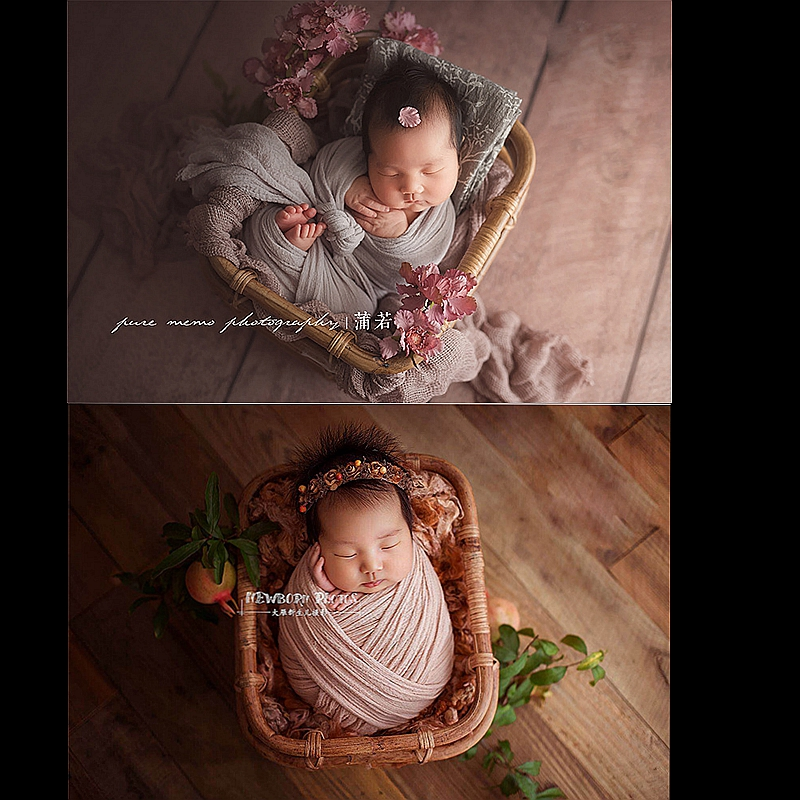 Newborn Baby Photography Prop Vintage Woven Rattan Baby Picture Shot Container Frame Shooting Studio Props Pure Color