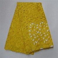 Дамы Светло желтый Африканский хлопок швейцарский вуаль кружевной ткани полый хлопок новый Дизайн с Камень Швейцарский кружева в Швейцари