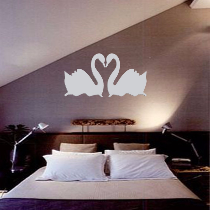 Hot Sale Double Silver Swan Design 3D Mirror DIY Wall Stickers Home Bedroom Living Room Office