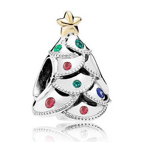 Btuamb nouveauté arbre de noël chanceux poupée amour coeur perles de cristal Fit Original Pandora bracelets porte-bonheur colliers bijoux à bricoler soi-même
