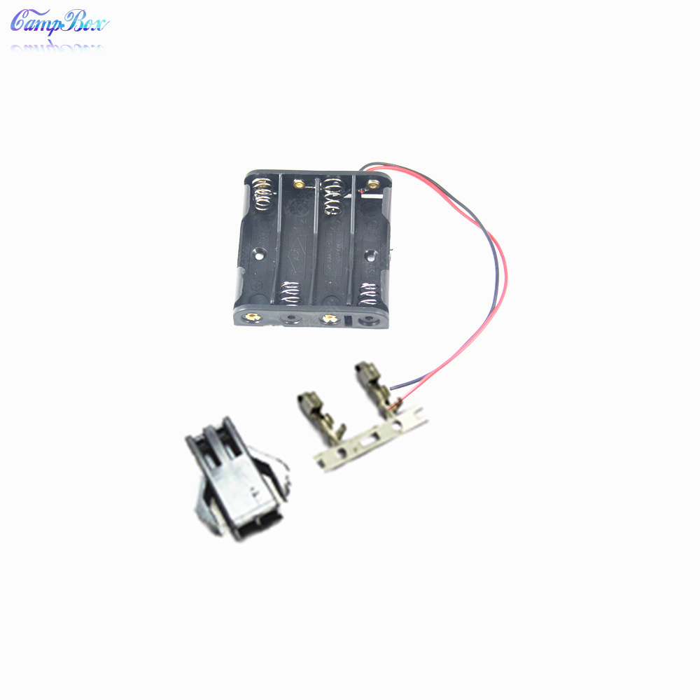 100Pcs 4xAAA Battery Case Holder Socket Wire Junction Boxes With 15cm Wires SM 2 54 Header