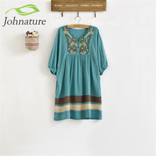 Johnature Summer   Women Dress Loose National Style Women Harajuku Solid Casual Cotton Vintage Long Blouse