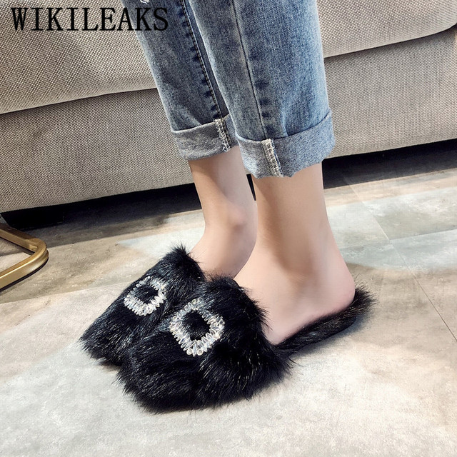 2c12ea18a Fur Slippers Shoes Woman 2019 Mules Furry Slides Rhinestone Loafers Women  Pantoufle Home Slippers Famous Brand Black Ladies Shoe