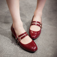 Lady Plus Size 4 12 Buckle Dress Square Toe Patent Leather Flower Sole Thick High Heels