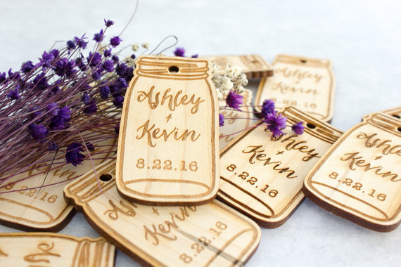 engraved custom mason jar rustic wedding wooden gift tags invitation labels cards party engagement bridal shower