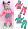 2016 Kids Baby Boy Girl Long Sleeve Striped Hooded Tops+Long Pants Autumn Winter Outfits 2PCS Clothes Set
