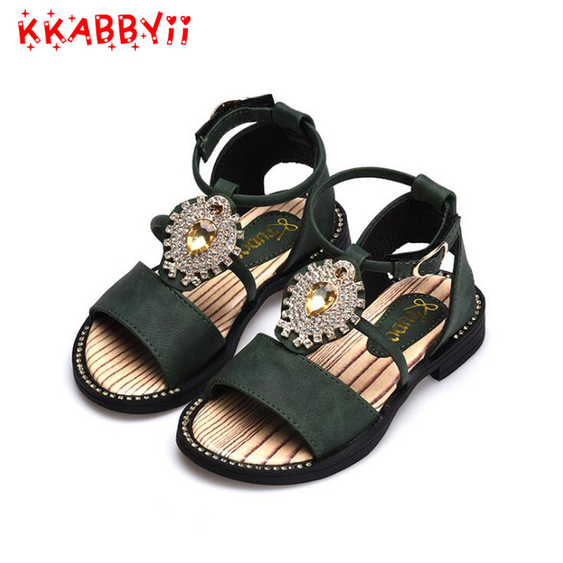 Girl Sandals New Summer Style Colorful Bowtie Fashion Girls Shoes Rhinestone Sandal Flat Maiden Student EUR Size 27-31