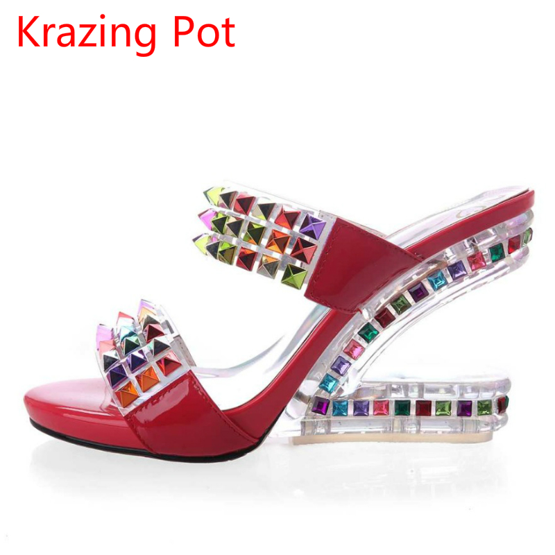 ФОТО 2017 Superstar Shoes Woman Genuine Leather Peep Toe Crystal Mules Strange High Heels Slippers Brand Shoes Colorful Sandals 8-3