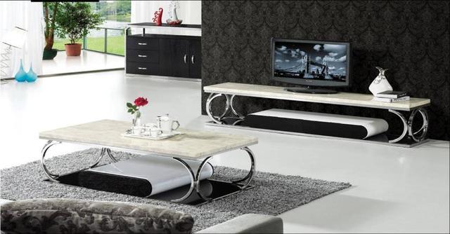 Acier inoxydable et marbre meubles ensemble table basse for Ensemble meuble tv table basse design
