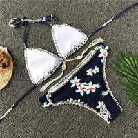 Women Padded Bra Swim Suit Beach crochet bikini Set 4