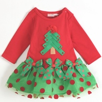 Red Polka Dots Baby Girl Christmas Tree DressLong Sleeves Autumn 2017 New Kids Party Clothes Toddler Clothing Children's Wear