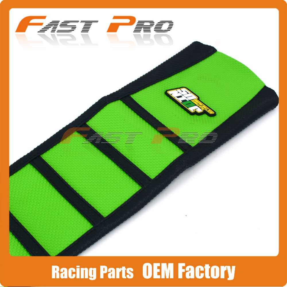 Motorcycle Pro Rib Green Rubber Ribbed Gripper Soft Rubber Seat Cover For KAWASAKI KX250F KX450F 2004 2005 Dirt Bike