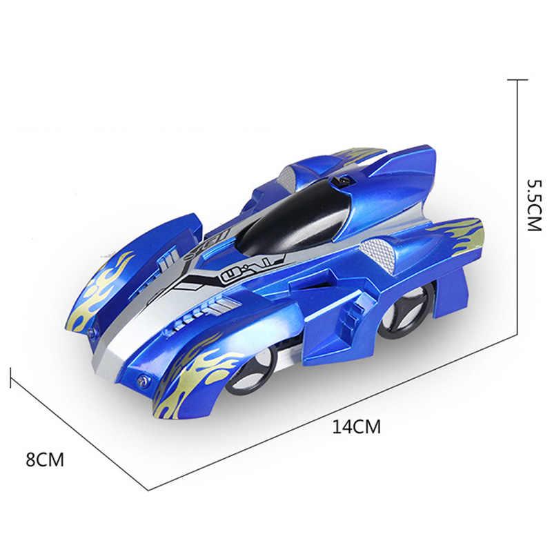 سيارة يمكن التحكم بها عن بعد تتسلق بجهاز تحكم عن بعد مزودة بأضواء Led ألعاب حيلة دوارة بمعدل 360 درجة مقاومة للجاذبية هدايا سيارة حائطية