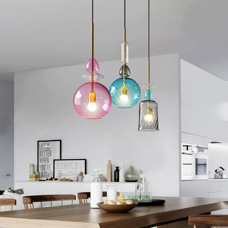 Modern Creative Hanging Lights Dining Room Lamps Bar Bedroom Led Lamp Color Candy Glass E27 Pendant Light Lighting