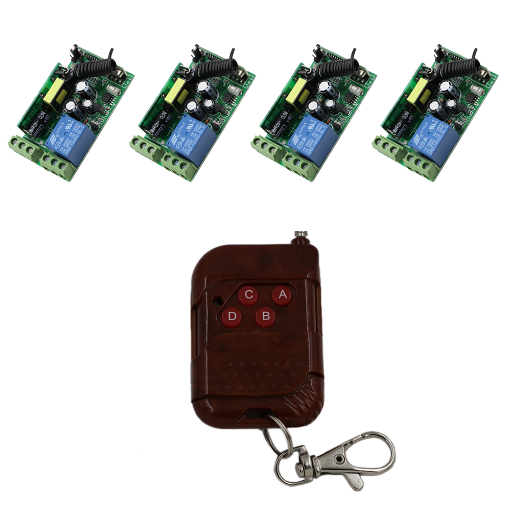 1CH 10A Receiver Remote Control Garage Door RF Wireless Remote Control Switch 1XPeach Transmitter+4X Receivers for Lamp/ Window dc12v rf wireless switch wireless remote control system1transmitter 6receiver10a 1ch toggle momentary latched learning code