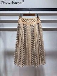 Ziwwshaoyu elegante falda drapeada gota Dot gran falda de péndulo primavera y verano de las nuevas mujeres