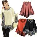 Women's Batwing Sleeve Pullovers Tassels Hem Cloak Poncho Tops Knitting Sweater Coat