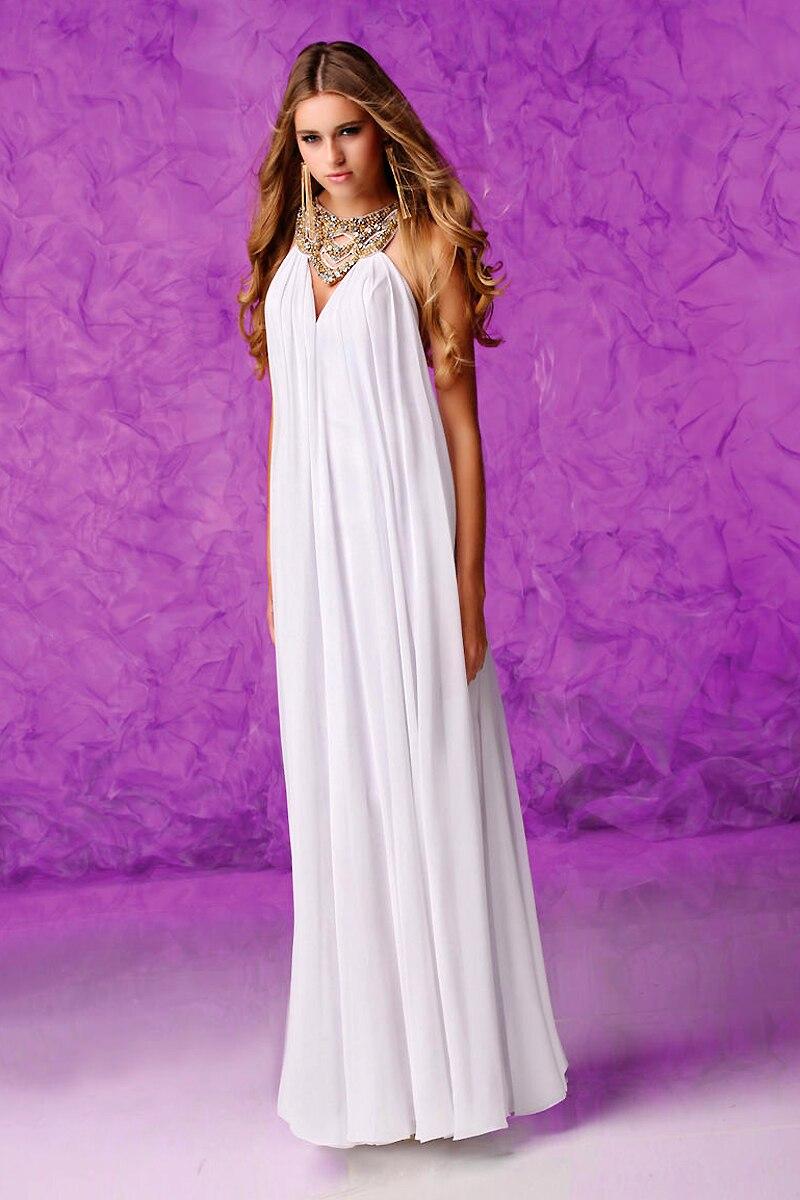 Único griego diseñador diosa gasa blanca largo De baile Vestidos ...