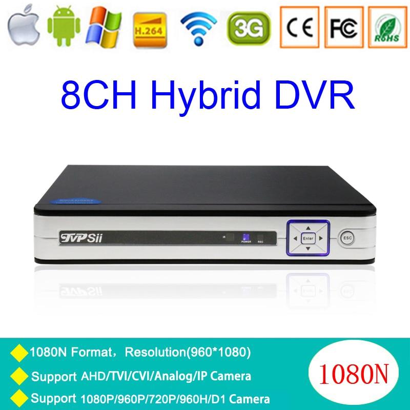 N-eye APP Silver White Metal 1080P Surveillance Camera 8CH 1080N Coaxial Hybrid 5 in 1 TVI CVI IP NVR AHD CCTV DVR Free Shipping сумка emperor mk20380 2014