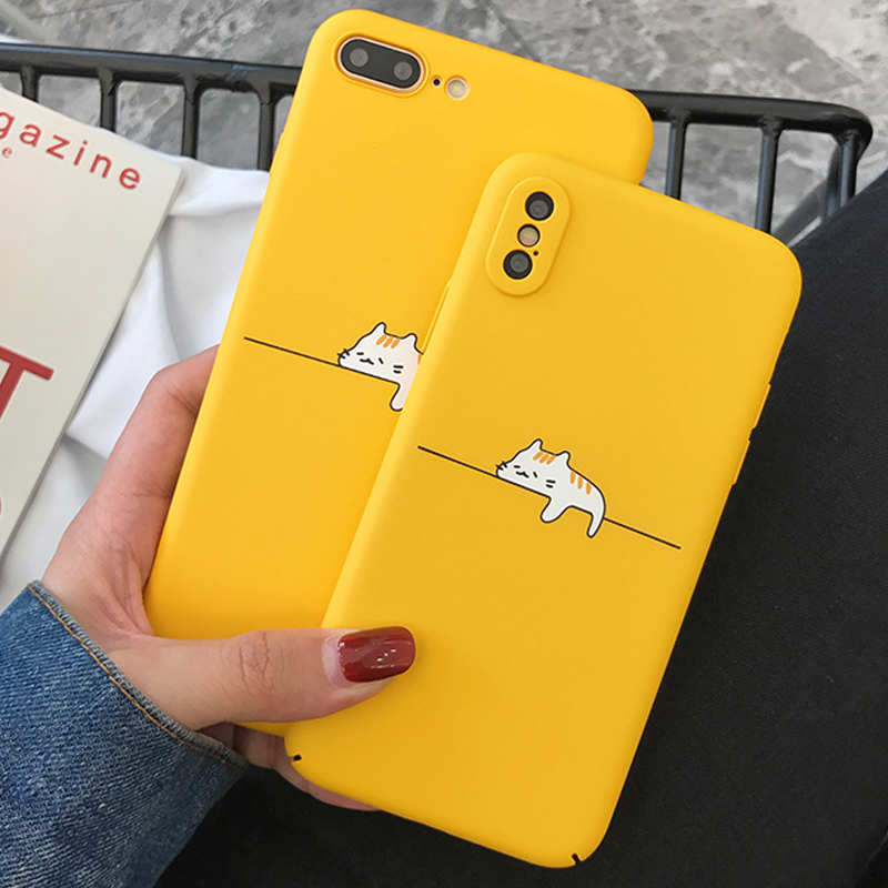 Fashion Cute Case For iPhone X 7 8 6 6S Case Giraffe Cat Flower Animal Phone Cases Hard PC Back Cover For iPhone 6 7 8 Plus
