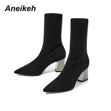 Aneikeh/Модные ботильоны с эластичным носком; женские эластичные ботинки на высоком массивном каблуке; сезон осень; пикантные ботинки с острым носком; женские туфли-лодочки; Цвет Черный