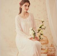Vintag White Round neck Elegant Sleepwear Women Cotton Medieval Nightgown Queen Dress Night Dress Lolita Princess Home Dress