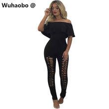 Wuhaobo Cut out bodycon women jumpsuits sexy party club wear summer jumpsuit Hollow out rompers ruffles neck black hole overalls