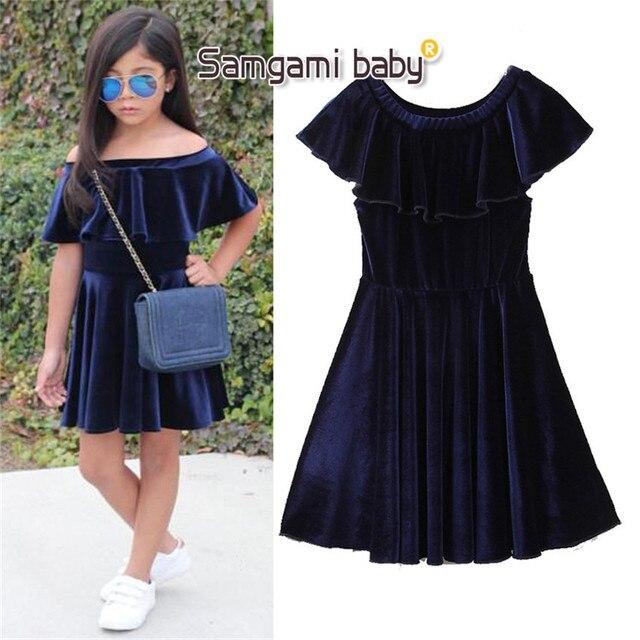 fd6960195edd SAMGAMI BABY Kids lovely Girls Dresses Dark Blue Velvet Party Wedding-daily  Clothes Girl Princess Party Dress Leisure Clothing