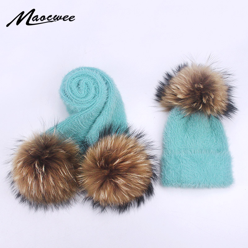 Winter Rabbit Fur Hat And Scarf Set For Women Girl Female Winter Knitted Hat Casual Solid Color Real Fur Pompom
