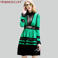 Sexy Women Dresses 2018 Early Spring Summer Fashion High Quality Lace Pleated Yarn Velvet Patchwork Mini Green Empire Hot Dress