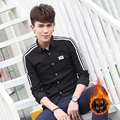 New Men Keep Warm Add Wool Upset Full Sleeve Slim Students Less Type JiQing Tide Shirt Black Navy C141