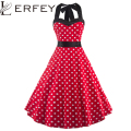 LERFEY 50s Women Elegant Vintage Dress Summer Pleated Bow Dress Polka Dot Tunic Pinup Casual Party Sexy Dress Women's Clothing