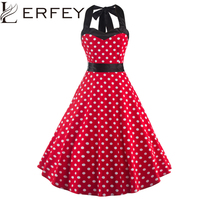 LERFEY 50s Women Elegant Vintage Dress Summer Pleated Bow Dress Polka Dot Tunic Pinup Casual Party