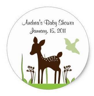 1.5inch Willow Deer Baby Shower Sticker Keepsake фото