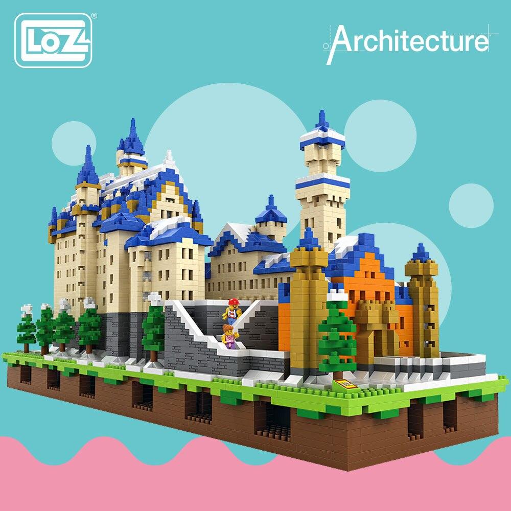 LOZ diamant blocs Architecture jouets Schloss Neuschwanstein château modèle nouveau cygne pierre château blocs construction ensemble briques 9049
