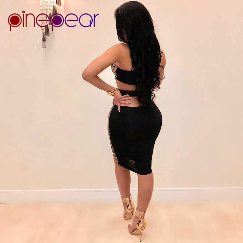 d6b63c47a0 PinePear 2019 Summer Women Fashion Sleeveless Sequins Dress Halter Sexy  Mesh See Through Clubwear Black Gold Short Party Dresses