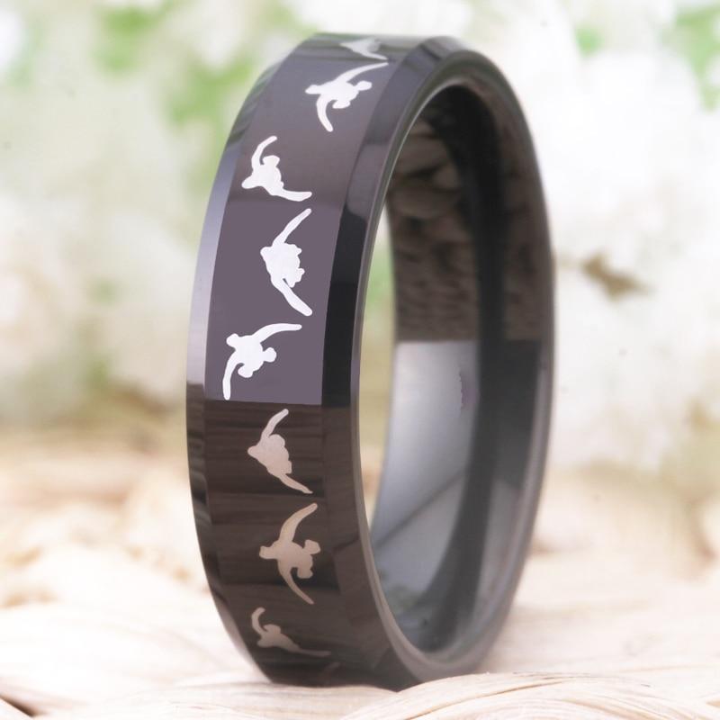 Моден волфрамов сватбен пръстен за - Модни бижута - Снимка 2